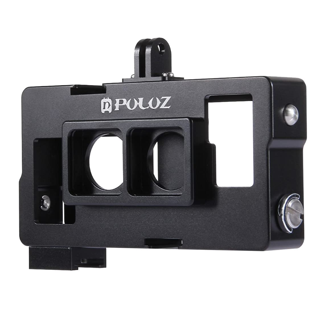 GzPuluz Action Camera Cases 2 in 1 Housing Shell CNC Aluminum Alloy Protective Cage with Lens Frame for GoPro HERO4 /3+(Black) (Color : Black)