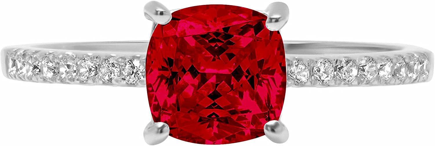 1.66ct Brilliant Cushion Cut Solitaire Accent Genuine Flawless Natural Red Garnet Gemstone Engagement Promise Anniversary Bridal Wedding Ring Solid 18K White Gold