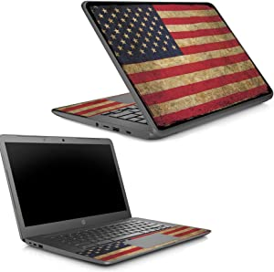 MightySkins Skin Compatible with HP Chromebook 14 G5 - Vintage Flag   Protective, Durable, and Unique Vinyl Decal wrap Cover   Easy to Apply, Remove, and Change Styles   Made in The USA