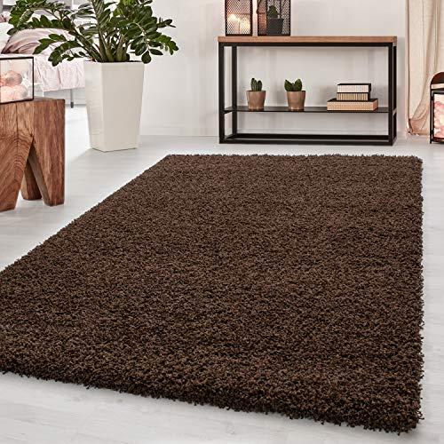Teppich Hochflor Teppich Dream Shaggy Teppich einfarbig Wohnzimmer Teppich, Farbe:Braun, Maße:200 cm x 290 cm