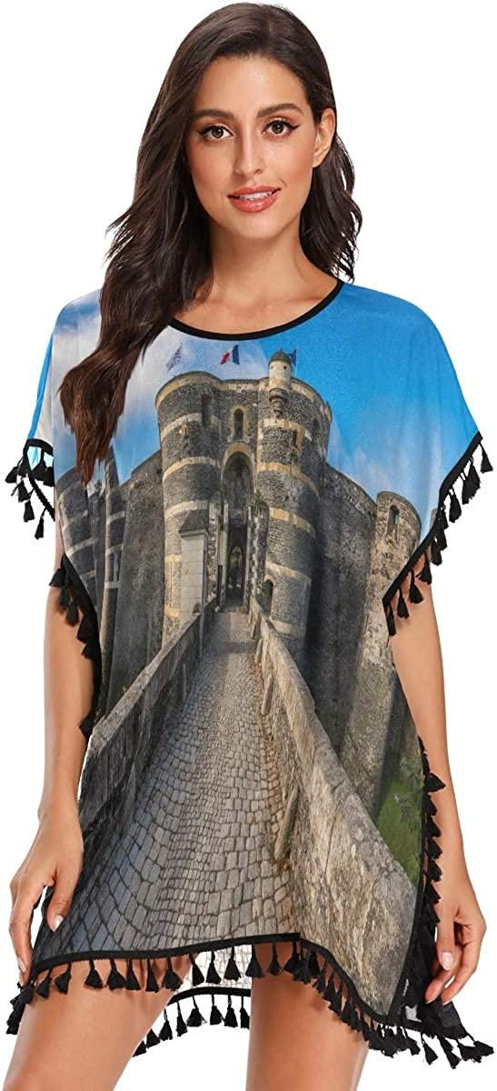 Swimsuit Cover Ups for Women,Entrance Gate of The Angers Castle France Swimsuit Cover up Summer Beach Cover up