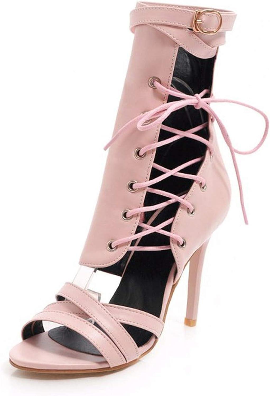 Women's Sandals Fashion Open Toe Lace-up Zipper Belt Buckle Fine Heel High Heel Women's shoes