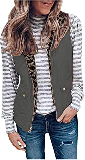 iFOMO 2019 Fall Winter Quilted Lightweight Animal Print Outerwear Vests for Women