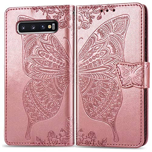 Roar Handyhülle für Samsung Galaxy S10 Hülle, Premium PU Leder Flip-Hülle Handy-Tasche Schutz-Hülle für Samsung Galaxy S10, Rose-Gold