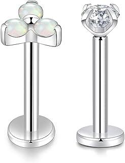Kzslive - Piercing labret, G23, in titanio, filettatura interna, 16g, per trago e cartilagine, piercing per orecchie, gio...
