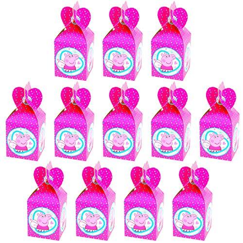 Qemsele Party-Schachteln Partytüten 12 Stück, Kinder Mitgebsel Kindergeburtstag Gastgeschenke Tüten Tasche, Kordelzug Rucksack Bag Turnbeutel für Mädchen Kostümparty, Geburtstagsfeier (Peppa Pig)