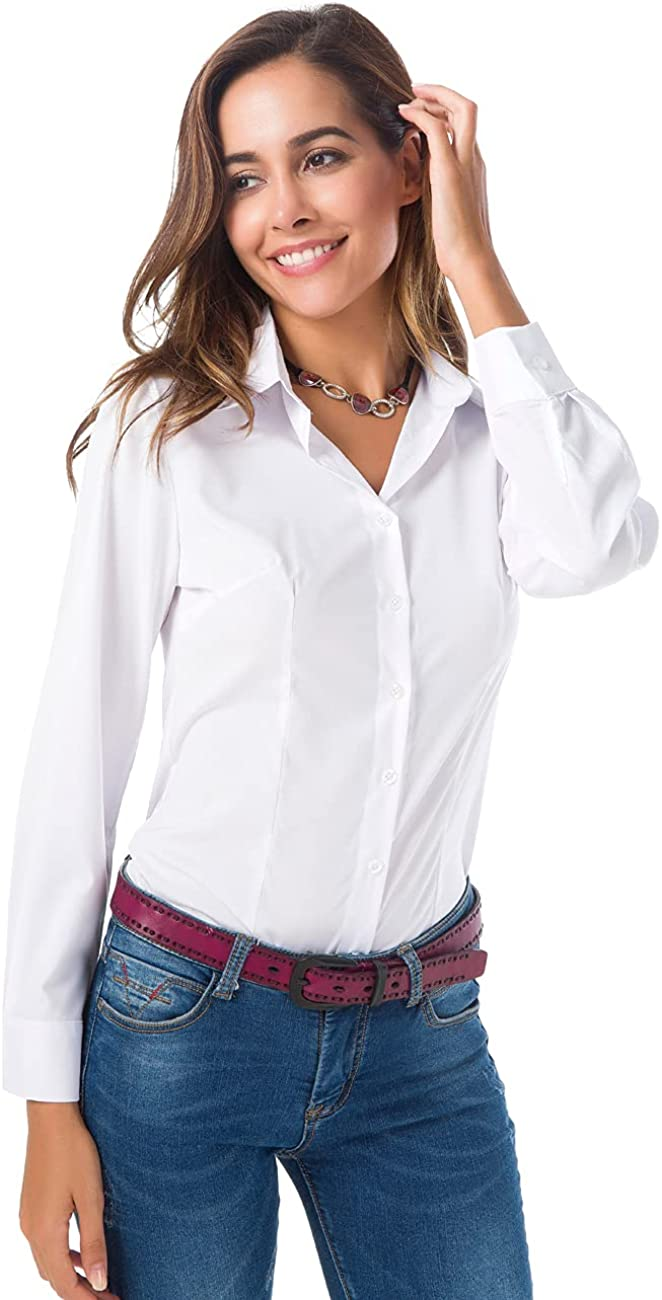 Atnlewhi Womens Long Sleeve Button Down Shirts Simple Pullover Stretch Formal Casual Dress Shirt