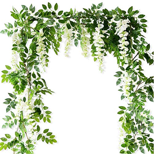 Artificial Flowers Silk Wisteria Fake Hanging Vines Plants Faux Garlands for Garden Outdoor Wall Greenery Jungle Party Wedding Arch Floral Decoration 4 Pack