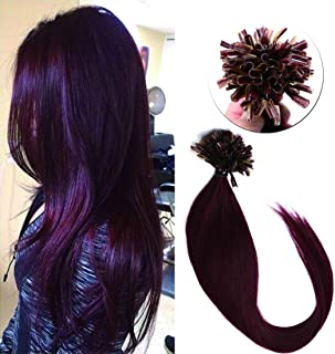 SEGO Pre Bonded U Tip Hair Extensions Human Hair 100 Strands Keratin Fushion Nail Tip Human Hair Extensions 100% Real Remy Hair Silky Straight #99J Wine red 18 inches 50g