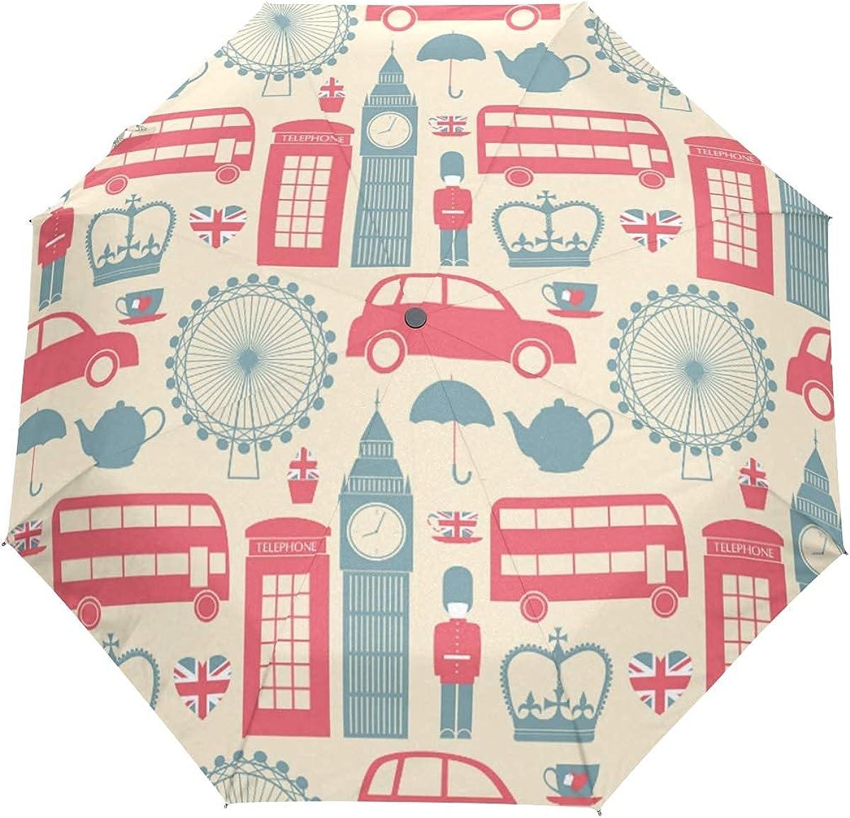 DERTYV 3 Folds Auto Open Close Finally resale start Big London P Umbrella mart England Ben