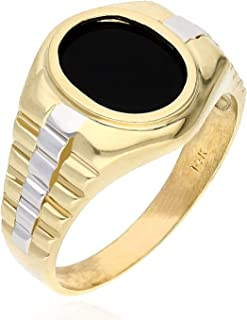 10K Two Tone Yellow White Gold Oval Black Onyx Jubilee Signet Ring