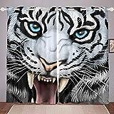 Cortina Oscura para habitación de Tigre 3D con Estampado de Tigre Blanco en 3D, Cortina Opaca para niños, y Hombre, Cool Wildlife Thermal Curtain Drapes, W66 x L72 Pulgadas, 2 Paneles