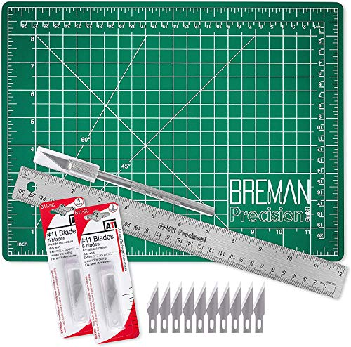 WA Portman Cutting Mat Craft Knife Precision Ruler Set - 9x12 Inch Self Healing Mat - Hobby Knife - 10 Replacement Blades - 12 in Premium Steel Ruler - for Crafts Model Kits Paper Plastic Fabric