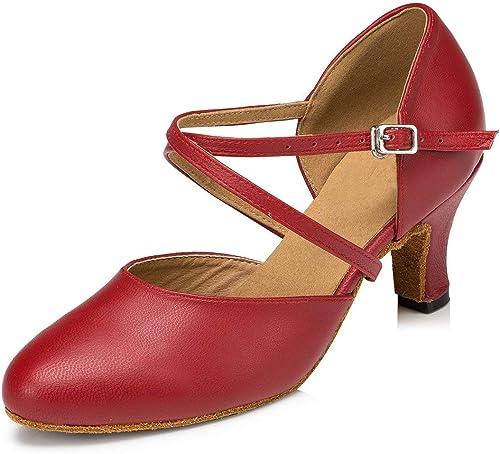 Willsego Damen Tanzschuhe (Farbe   rot-6cm Heel, Größe   7.5 UK)