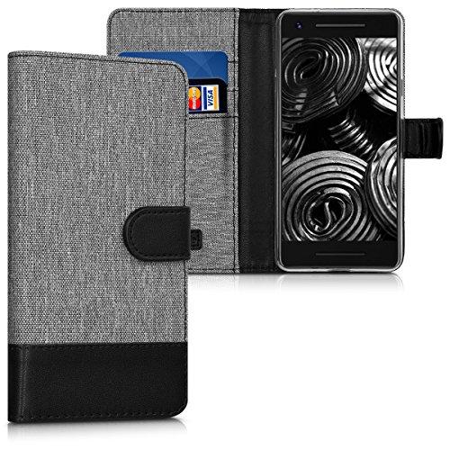 kwmobile Wallet Hülle kompatibel mit Google Pixel 2 - Hülle Kunstleder mit Kartenfächern Stand in Grau Schwarz