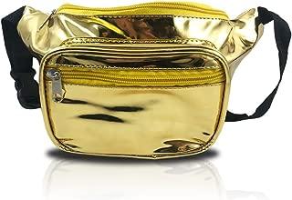 nineteen80something Shiny Gold Fanny Pack, Metallic Waist Bag, Golden 24k, For Raves Concerts and Festivals (Shiny Gold)