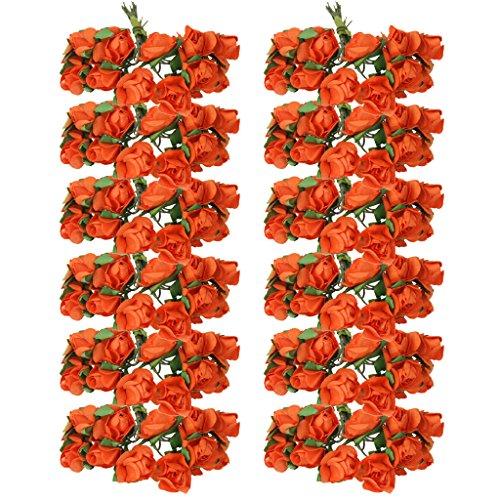 HomeDecTime Mini Rosenköpfe Papier-Rosen Papierblumen Kunstrose Kunstblumen Rosenblüten Künstlicher Rosen Hochzeit Party Deko - Orange, 7cm
