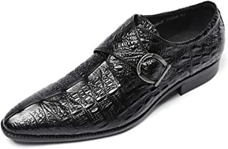 Chaussures Monk hommes,Chaussures Robe de mariée banquet Simple Boucle classique bout pointu en cuir de vache Chaussures,B...