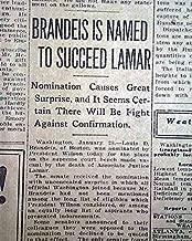 LOUIS BRANDEIS 1st Jewish Supreme Court Justice Nomination JUDAICA 1916 Newpaper THE ATLANTA CONSTITUTION, Atlanta, Georgia, January 29, 1916
