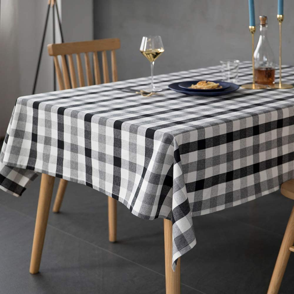 Wolala Home Square Checkered Striped Cotton Tablecloth Dust-Proof Wrinkle Free Table Cover for Kitchen Dinning Tabletop Decoration (55''x55'', Black/White/Gray)