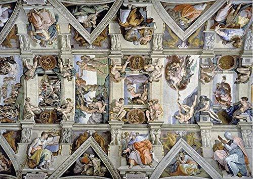 RHRT Puzzle 1000 Teile Holzpuzzle Klassisches Puzzlespiel Michelangelos Decke Sixtinische Kapelle Papierkinder super schwer zu malen berühmte Spielkunst Hauptdekoration robust einfach