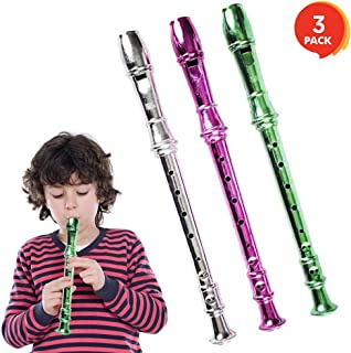 ArtCreativity 13 Inch Metallic Flutes - Set of 3 - Plastic Musical Instrument for Kids - Metallic Colors - Durable Music Toys for Toddlers, Boys, Girls - Fun Gift and Birthday Party Favor for Children