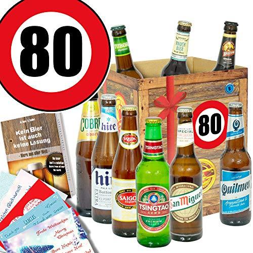 Geschenkideen für Männer zum 80. / Bier Geschenkbox mit Biersorten der Welt