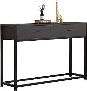 DlandHome Table Console Table d'Appoint avec 2 Tiroirs 120 * 34 * 81cm en Bois & métal Pieds pour Salon/Couloir/Entrée,Bru...