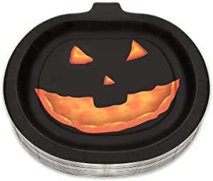 50 Count Halloween Paper Plates 10.24 x 10.04 in Disposable Party Supplies Tableware Plates Black Pumpkin Smile Face Decoration