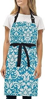 YIXKC Apron Turquoise Damask Blue Adjustable Neck with 2 Pockets Bib Apron for Family/Kitchen/Chef/Unisex