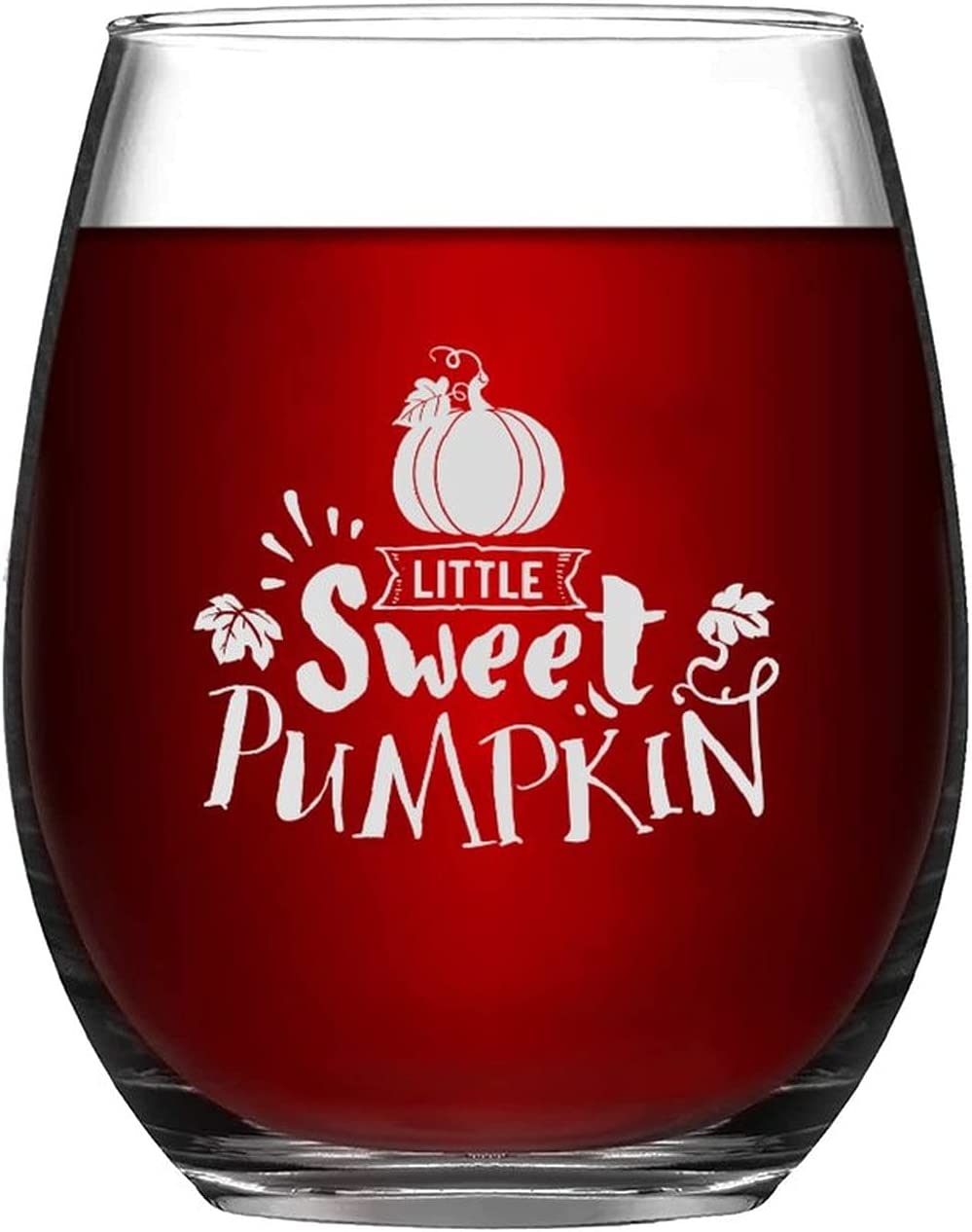 Stemless Wine Glass Little Sweet Autumn Pumpkin Glasses Daily bargain sale Happy Ha Oakland Mall