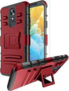 LG Stylo 4 Case,LG Stylo 4 Phone Case,LG Q Stylus/LG Stylo 4 Plus Case+Tempered Screen Protector,CaseBing [Built-in Kickstand] Heavy Duty Dual Layer Hybrid Full-Body Rugged Case Cover-PC-Red