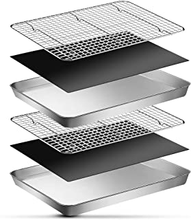ورق های پخت EMDMAK 6 قطعه با مجموعه قفسه های خنک کننده ، ورق کوکی و سیم مفتول فولادی ضد زنگ 16 اینچ 12 1 اینچ