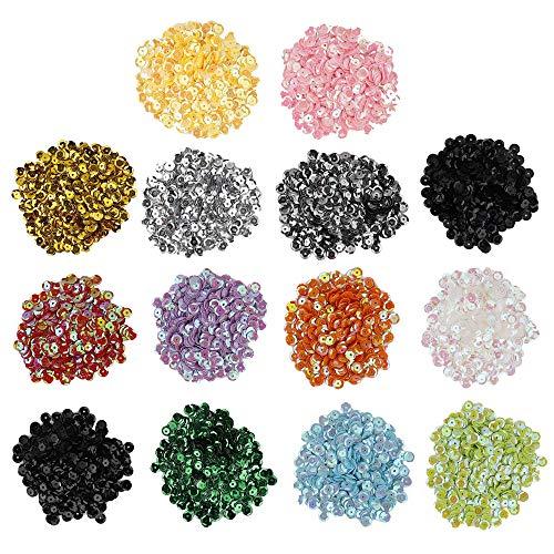 Lentejuelas 6mm Sueltas Lentejuelas de Taza a Granel Entejuelas Iridiscentes para Manualidades Artes Artesanías Costura Ropa Hazlo tú Mismo 14 Colores