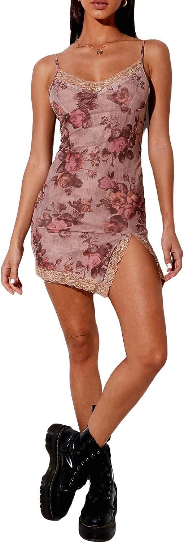 Women's Lace Patchwork Floral Camisole Dresses Spaghetti Strap Deep V Neck Y2k E-Girl Mini Club Dress