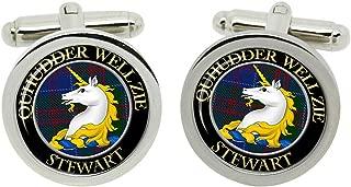 Scottish Clan Surname Stewart of Appin Crest Cufflinks with Gift Box