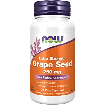 NOW Supplements, Grape Seed (a Highly Concentrated Extract with a Minimum of 90% Polyphenols) Extra Strength 250 mg, 90 Veg Capsules