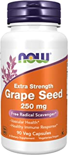 NOW Supplements, Grape Seed (a Highly Concentrated Extract with a Minimum of 90% Polyphenols) Extra Strength 250 mg, 90 Ve...