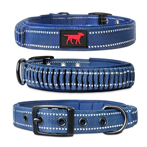Tuff Pupper Heavy Duty Dog Collar with Handle | Ballistic Nylon Heavy Duty Collar | Padded Reflective Dog Collar with Adjustable Stainless Steel Hardware | Convenient Sizing for All Breeds