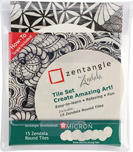 Zentangle Zendala Round Tiles, 15 runde Zentangle-Kacheln