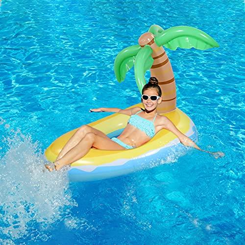 CLISPEED Aufblasbarer Coconut Tree Pool Float mit 2 schnellen Werten Ride On Water Float mit Reparaturpflastern Beach Pool Party Sommer Wasserspaß für Kinder SGS-Tests für Teenager