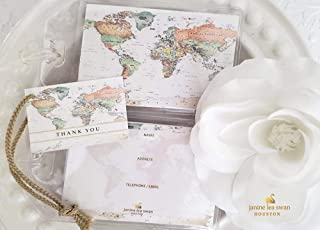 Janine Lea Swan designs 50 World Map Luggage Tag Favors Ivory $1.25 ea.