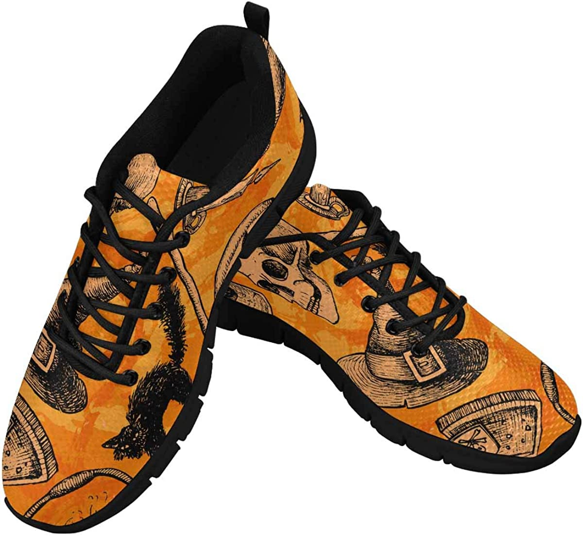 INTERESTPRINT Halloween Pattern with Skull and Cat Women's Athletic Walking Shoes Comfort Mesh Non Slip