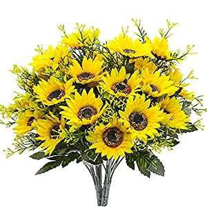 Grunyia Artificial Flowers Fake Sunflowers, 4PCS Faux Silk Flowers Floral Table Centerpieces Arrangements Home Kitchen Office Windowsill Hanging Spring Decorations