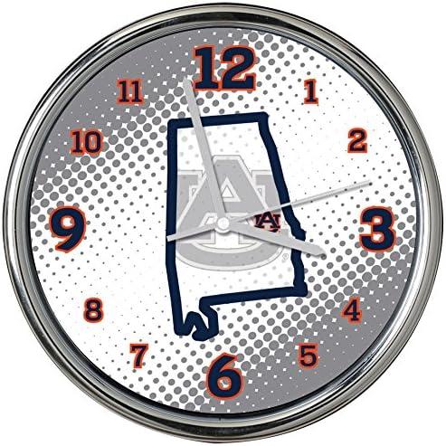 Memory Free shipping Company Outstanding NCAA Auburn - Clock Col-Au-2238Chrome University