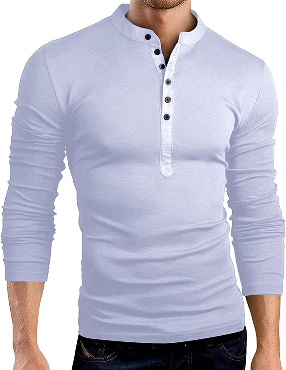 FUNEY Mens Casual Slim Fit Basic Henley Long Sleeve V Neck Solid Color Fashion T-Shirt Lightweight with Buttons