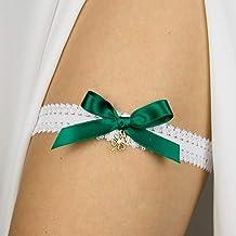 Giarrettiera di pizzo matrimonio sposa biancheria intima regali de nozze addio al nubilato bianco verde trifoglio