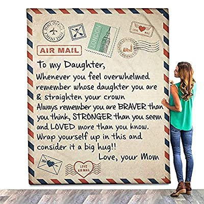 Fleece Blanket to My Daughter Letter Printed Qu...