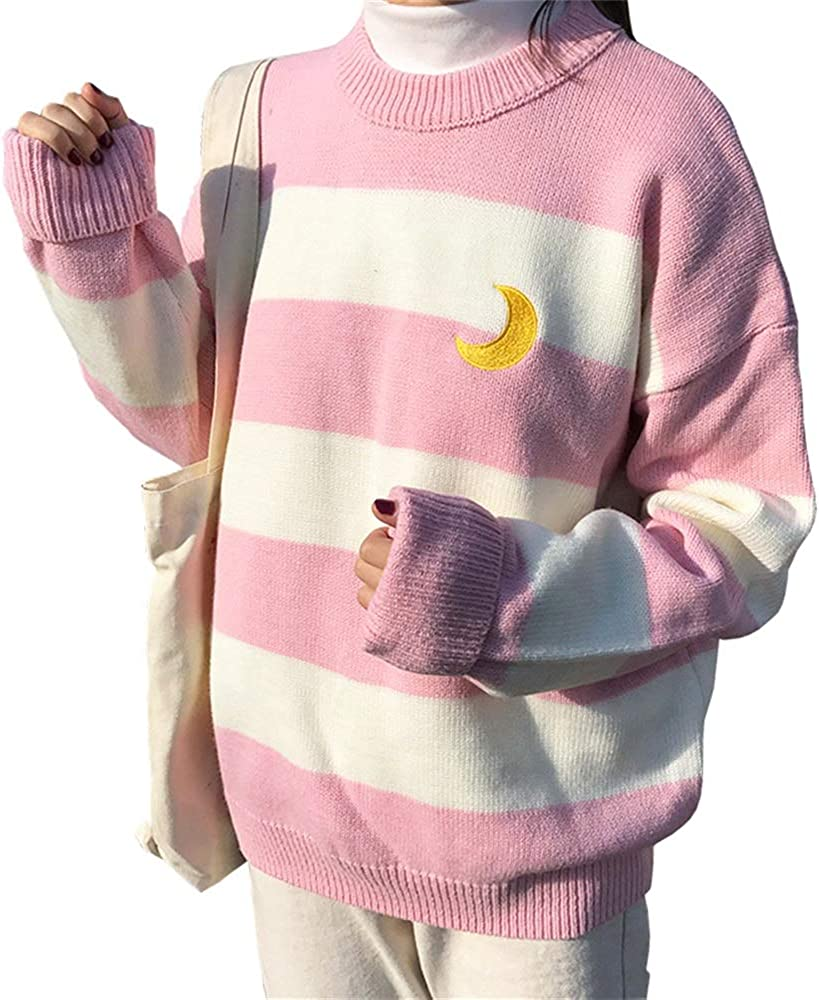 Women Sweet College Style Harajuku Moon Sweater Woman's Crew Neck Striped Winter Students Thick Lazy Pullover