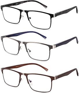 CRGATV 3-Pack Reading Glasses for Men Blue Light Filtering Full Frame Metal Readers Anti Uv/Eye Strain/Glare (+1.25 Magnification Strength)